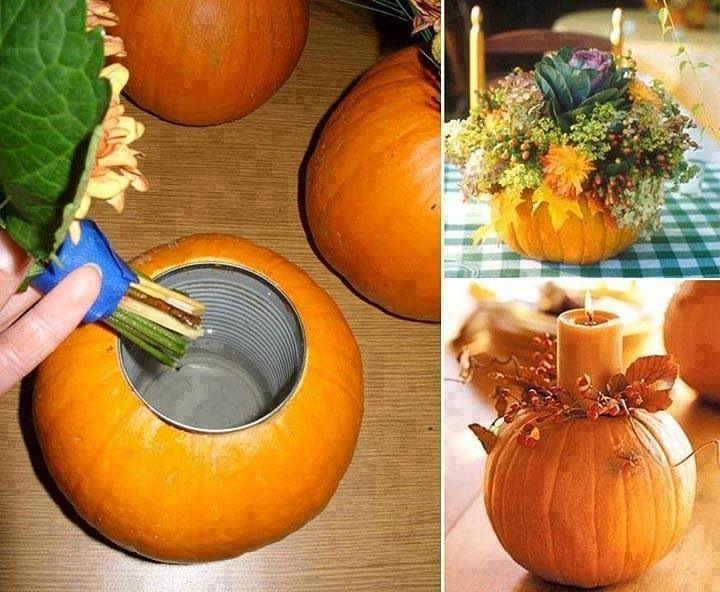 Корзинка из тыквы поделка с овощами