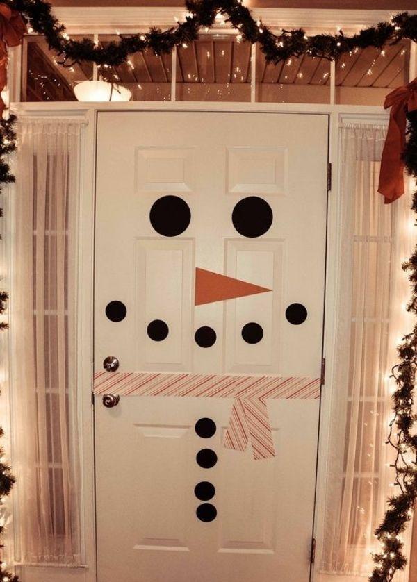 Украсить дверь к новому году своими руками фото