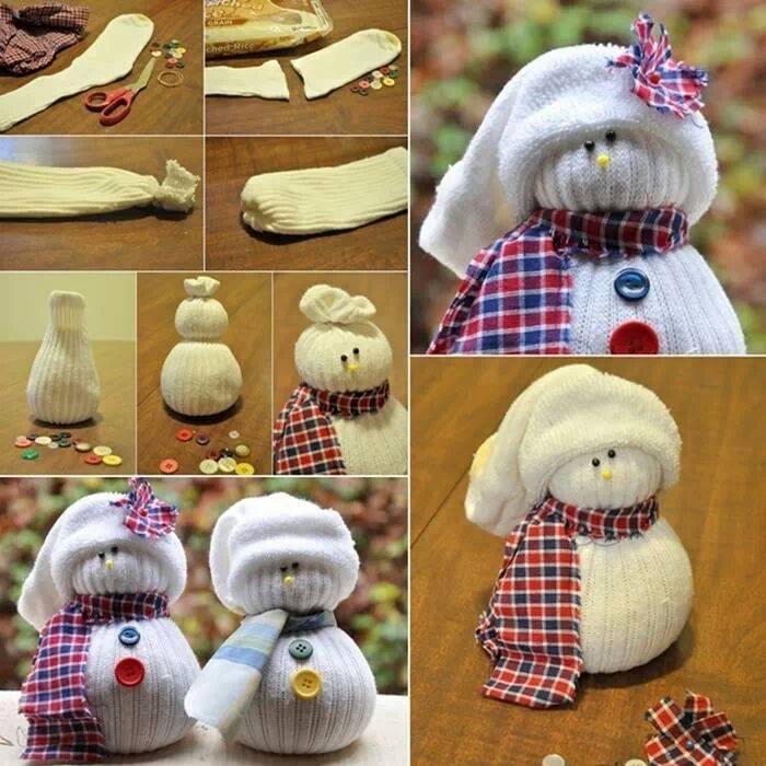 Новогодняя игрушка своими руками снеговик из носков