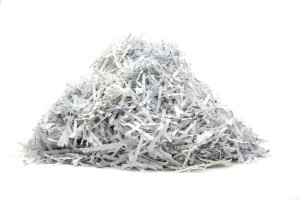 Isolated heap of shredded paper